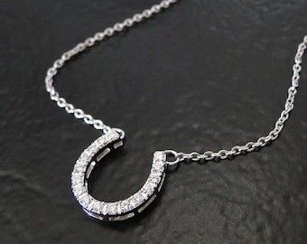 Horseshoe Necklace - Sterling Silver Cubic Zirconia, CZ, Celebrity Style Lucky Horseshoe