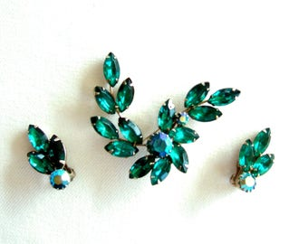 Exquisite Green Rhinestone Brooch & Earrings Dazzling Vintage Jewelry Vibrant Glowing Date Night Elegance Gift for Her Birthday Present
