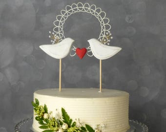New! Pearl Bridal Topper, Bird Wedding Cake Topper, Wedding Topper in White and Red, Wooden Cake Topper with Lovebirds