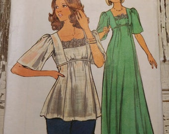 Evening Dress with Lace Trim or Babydoll Top Sewing Pattern Butterick 4749, Size 10, Vintage 1970s, Cut & Complete