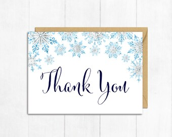 Snowflakes Thank You Card, Winter Thank You Card, Snowflake Baby Shower Thank You Card, Flat Postcard Style Thank You Instant Download 303-B