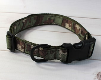"""Camo Military 1"""" Nylon Fursuit Collar; For Humans or Fursuiters!"""