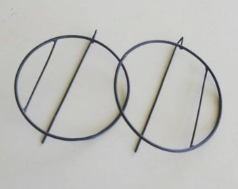 Oxidized sterling oxidized hoops