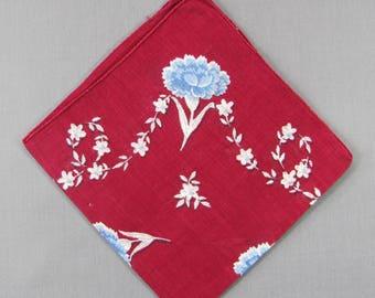 Blue Carnations on Burgundy Red Vintage Cotton Hankie Handkerchief