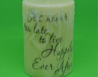Fresh Vanilla Pillar Candle with Inspiration Quote - 19.2 oz - Wax Blend - Handmade Poured