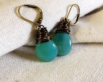 Sea Foam Green Earrings, Green Glass Earrings, Czech Glass, Carribbean, Mint Green Earrings, Green Teardrop, Antiqued Brass, Wire Wrapped