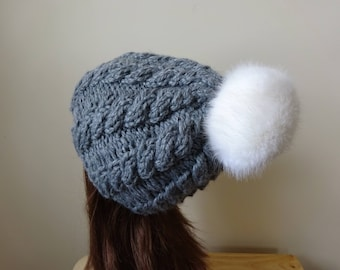Cable Knit Hat Faux Fur Pompom Women Winter Hat Chunky Knit Hat Oxford Grey Hat White Pompom Acrylic Hat - Ready to Ship - Gift for Her