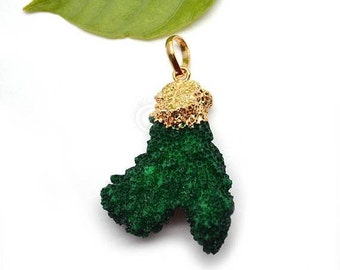 Quirky Green Coral Pendant, 32x47mm Gold Electroplated Branch Druzy Gemstone Chain Pendant 1pc GemMartUSA (CO-50129)