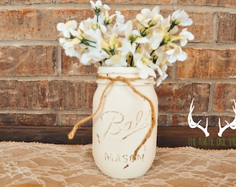 Painted mason jar decor, mason jar decor, wedding centerpiece, rustic mason jar decor, rustic wedding decor, rustic wedding centerpiece
