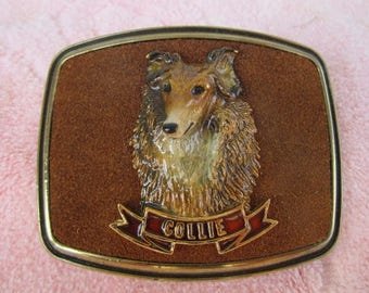 Vintage 1979 Raintree Raised Collie Head Brass With Suede Buckle
