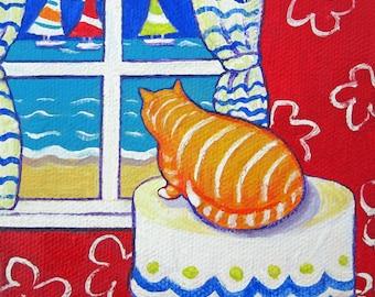 Fat Cat Art, Cat Folk Art, Beach Art, Seascape, Orange Cat Print, Cat Window, Ginger Cat Art, Sailboats, Beach Cat, Coastal Decor, KORPITA