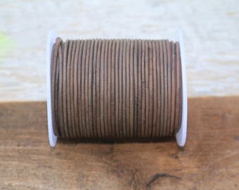 2mm Natural Gray Leather Cord, 5 yards