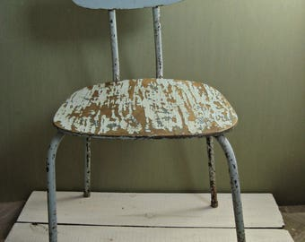 Old chair/ industrial chair/iron chair/rusty /shabby/painted wood chair /blue chippy paint/Soviet