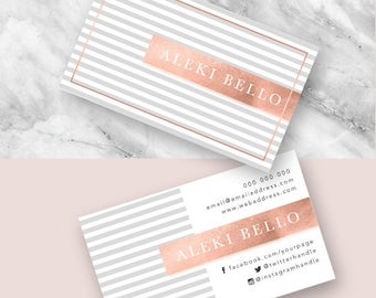 Business Cards, Calling Card, Marketing, Business, Elegant, Modern, Chic, Photoshop, Editable, Customisable, Design, Rose Gold, Copper