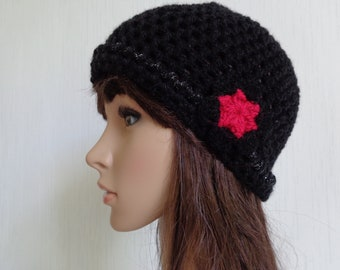 Wool Hat for women and teens - crocheted in Black wool.
