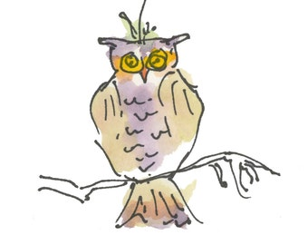 """HALLOWEEN OWL....Clipart / Digital Download / 300 dpi/ hi resolution of Original Watercolor . 8""""x10"""" Great for any application."""