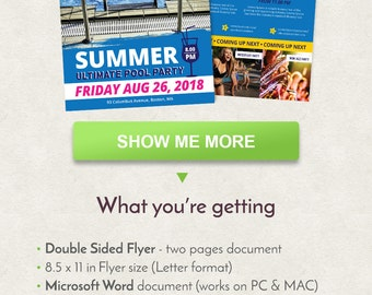 Summer Pool Flyer Design, Party Flyer Design, Letter Size Flyer Template, Double Sided Brochure, Word Flyer Template, Printable Flyer