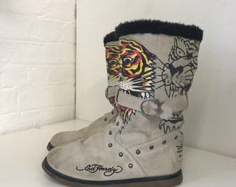 Vintage RARE 2000s 00s Don Ed Hardy Noughties Designer Leather Fur Suede Studded Buckle Ugg Boots 39