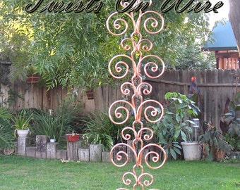 8 ft Solid Copper Swirl Rain Chain - Kusari Doi - Feng Shui Zen Outdoor Outdoor Garden Decor - Water Feature - Handcrafted Metalwork