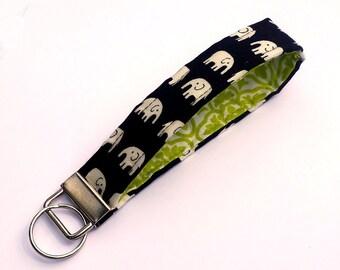 FREE SHIPPING UPGRADE with minimum -  Key Lanyard - Key Fob - Fabric Key Ring -- Elephants on Black