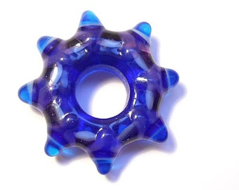 Blue glass bead, handmade lampwork star kaleidoscope bead, whorl necklace, big hole focal bead pendant, jewelry supplies