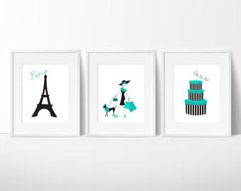 Paris Teen Room Decor - Fashion Print - Fashion Art - Girls Room - Girls Fashion - Girls Room Decor - Bedroom Art - French Art - 3 Prints