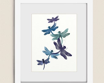 11 x 14 Purple Blue Living Room Wall Art Dragonfly Art Print, Nature Decor for House (142)