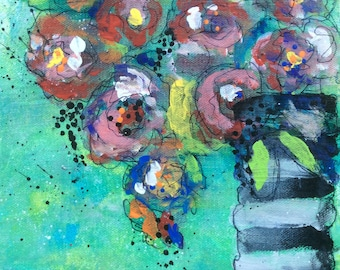 Instant download, digital card, floral card, abstract card, just because, Happy Birthday card, abstract mixed media