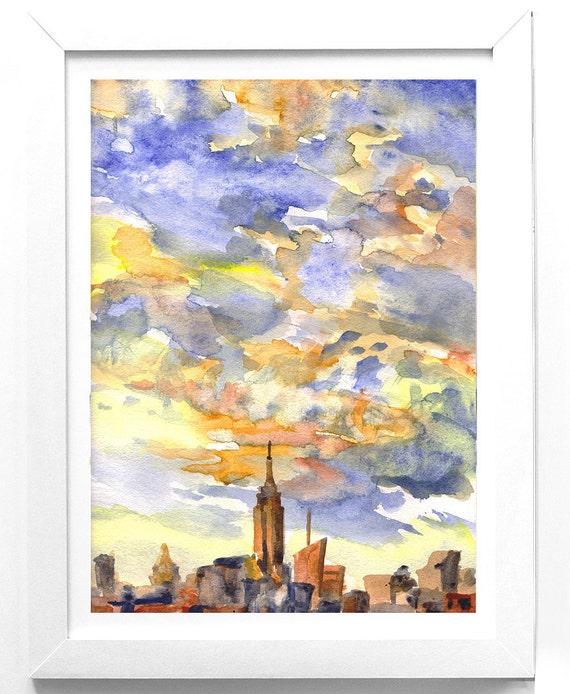 New York Painting print NYC Sunset Watercolor original print