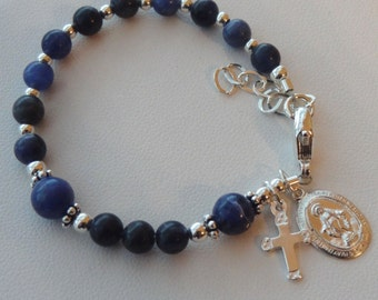 Sterling Silver Baby Boy Baptism Rosary Bracelet,  Christening Boy Bracelet, Boy Bracelet, Blue  Baby Bracelet, Rosary Bracelet