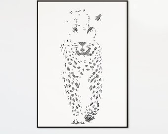 Leopard Print, Leopard Art, Minimal animal art, minimal printable art, Digital Download, black and white, animal art