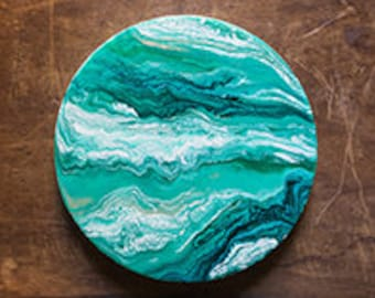 Green Agate Circular Round Resin Painting