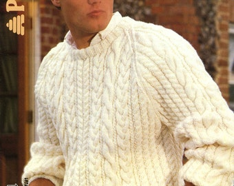 Vintage Men's Cable Sweater, Knitting Pattern,1960 (PDF) Pattern, Patons 8148