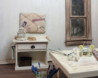 Shabby Chic/Cottage Style Miniature Cabinet  with towel holder- Lightly Distressed Old White