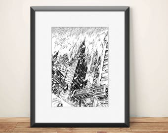 Skyscraper In The Snow / Snow / Buildings / Architecture / poster / wall decor / wall art/ black and white / design