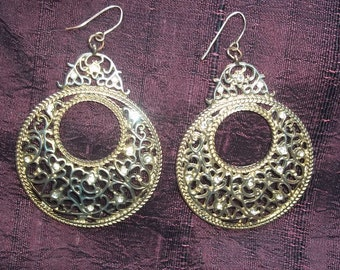 Vintage Goldtone Filigree Large Disc Wire Earrings with Rhinestones