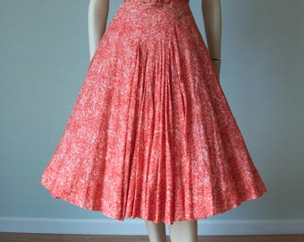 1950s Adele Simpson Cotton Gauze Summer Dress / Floral Sequin Design / Red and Pink / 50s Cotton Dress / New Look / Belted / Small