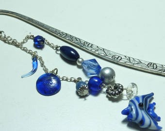 "Large bookmark jewel beads ""blue fish"""