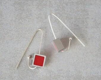 Long silver earrings, Red earrings, Polymer clay earrings, Hook earrings, Geometric earrings, Square earrings