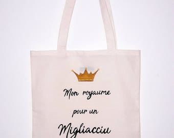 "Tote bag ""Mon royaume pour un migliacciu"" / My kingdom for a migliacciu / Shakespeare / Richard III / Corsican food"