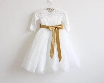Long Sleeves Light Ivory Flower Girl Dress Lace Tulle Flower Girl Dress With Gold Sash/Bows Floor-length