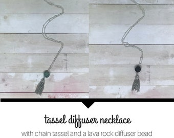 Tassel Diffuser Necklace | Lava Rock Jewelry | Diffuser Jewelry | Essential Oil Jewelry | Lava Stone Necklace | Essential Oil Diffuser