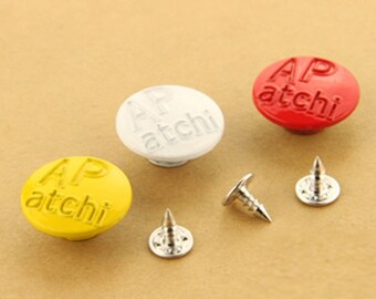6 Pcs 0.79 Inches Yellow/White/Red Snap Fastener Metal Shank Buttons For Jeans