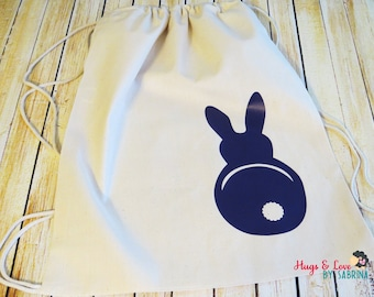 Bunny Drawstring Cotton Backpack/gym bag - Perfect for Easter