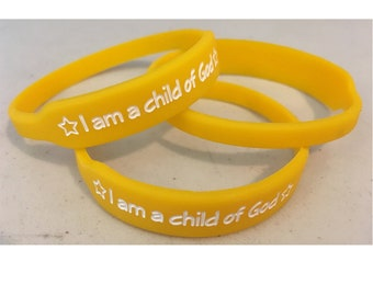 I am a Child of God silicone wristband 5-pack (5) Primary Theme Choose the Right LDS Primary yellow&white