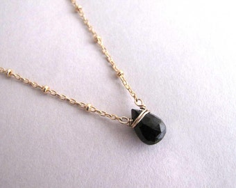 Dainty Genuine Black Tourmaline Necklace, Small Pendant Necklace, Gemstone Drop Necklace, Black Necklace, Simple Necklace