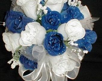 "10"" Round White & Royal Blue Rose Buds Bride/Bridal Bouquet.- Wedding -"