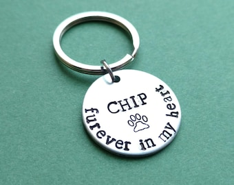 "Furever in My Heart Hand Stamped 1"" Aluminum Disc Keychain with Paw Stamp and Personalized Name, Custom Text, Memorial Gift, valentine's day"