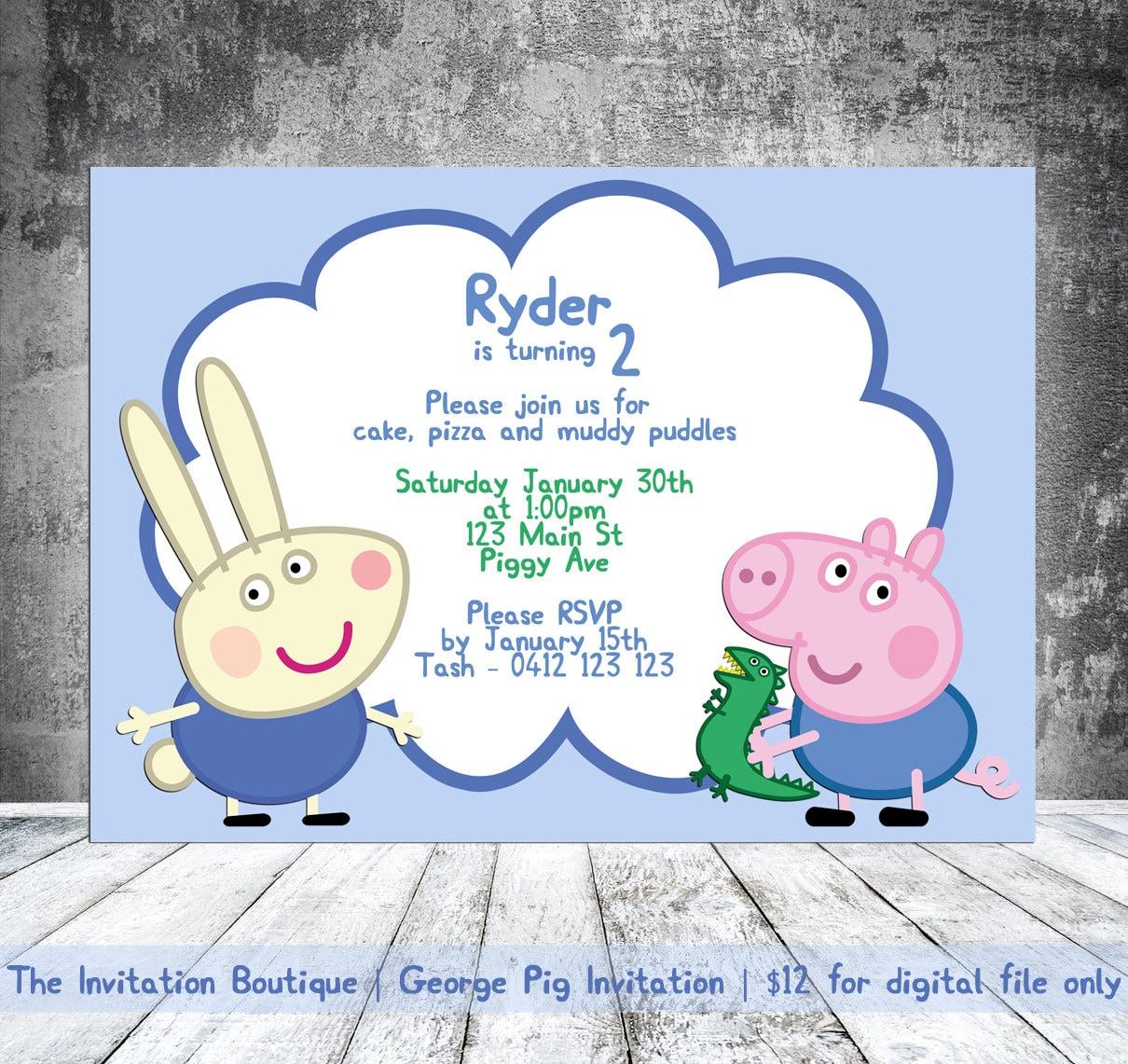 George Pig Invitation Peppa Pig