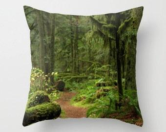Woodland Path Pillow Cover Forest Beauty Woodland Scene Forest Pillow Green Moss Rainforest Woodland Path Serene Zen